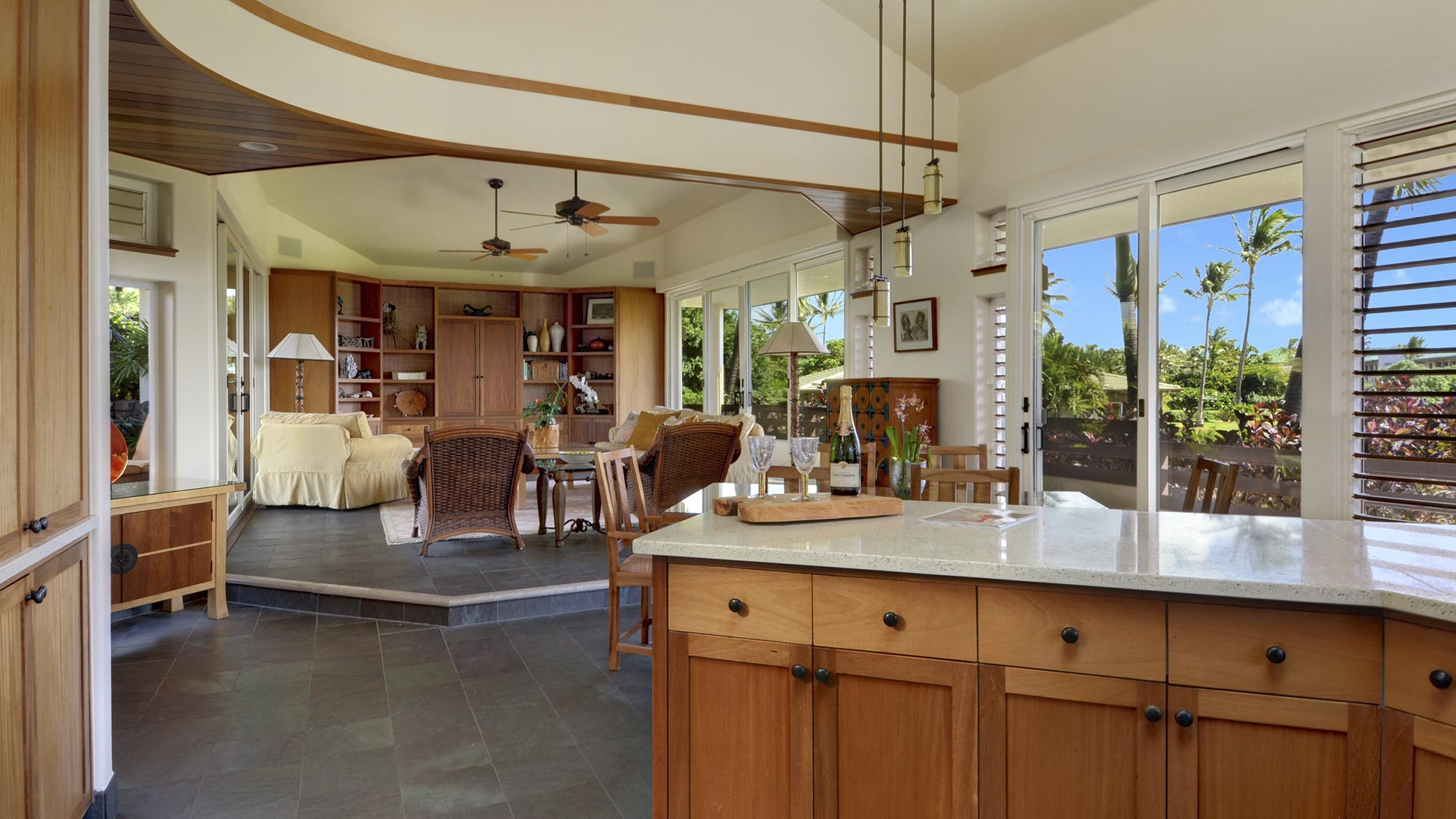 Hale Maluhia at Poipu Kai - Kitchen Living Dining Great Room - Parrish Kauai