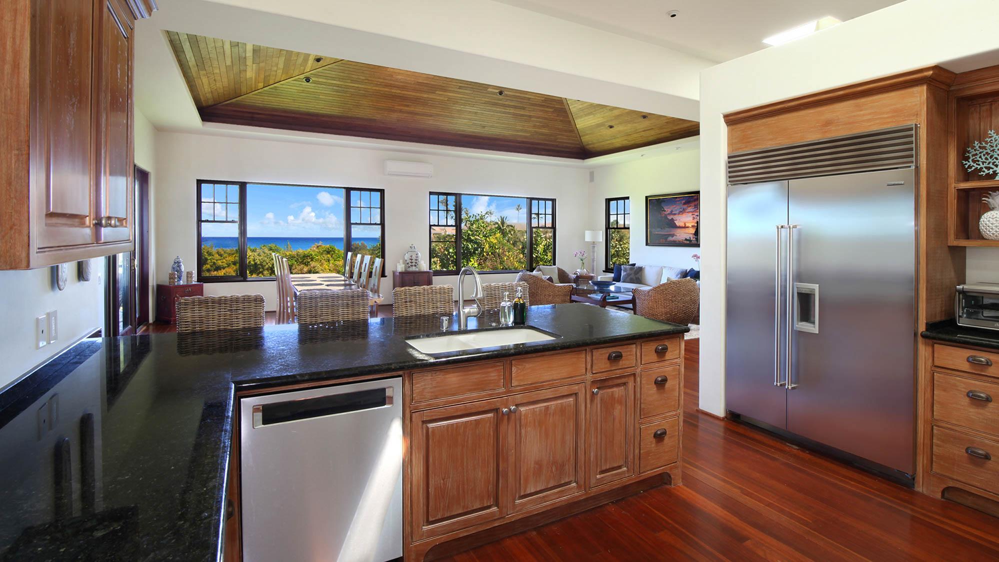 Kapiolani Villa at Princeville - Ocean View Kitchen - Parrish Kauai