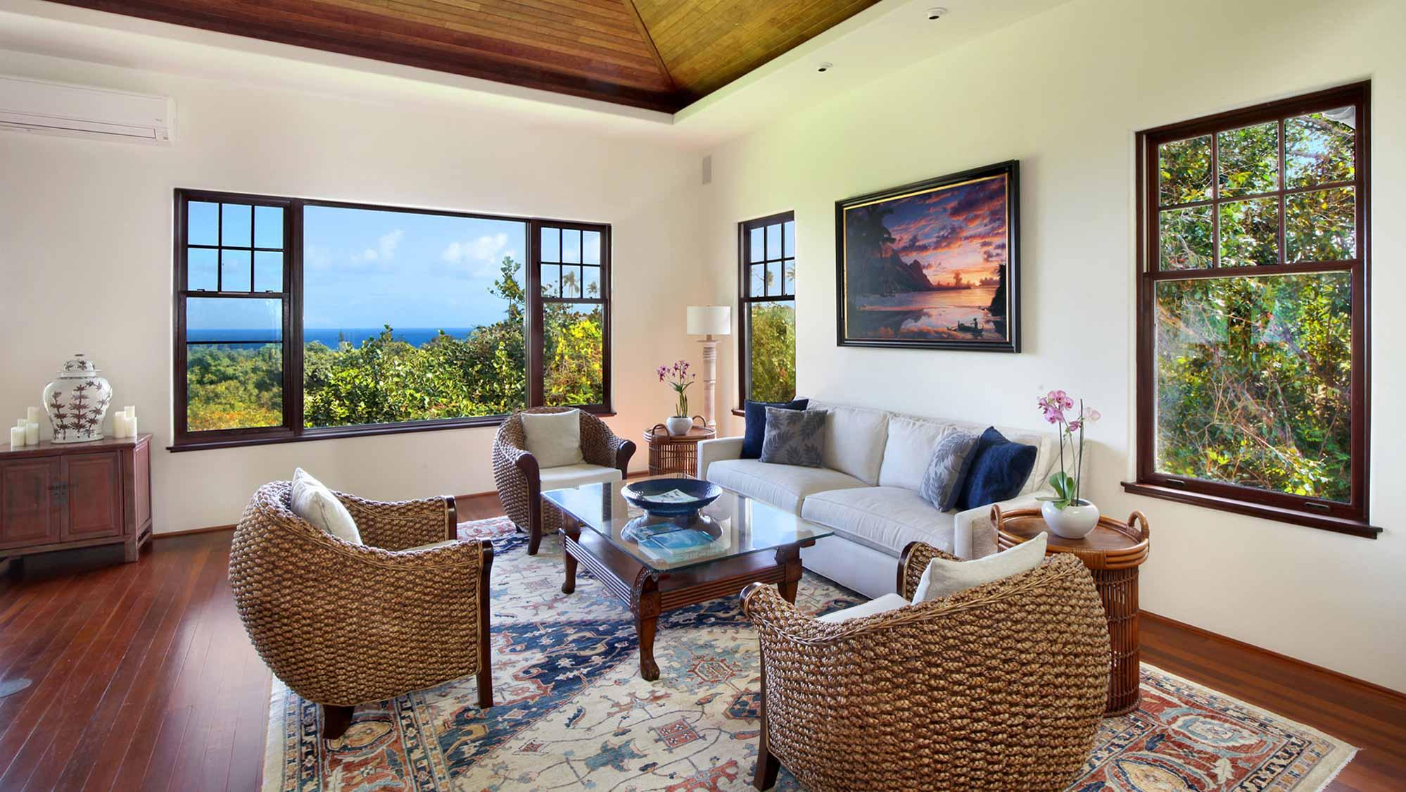 Kapiolani Villa at Princeville - Ocean View Living Room - Parrish Kauai