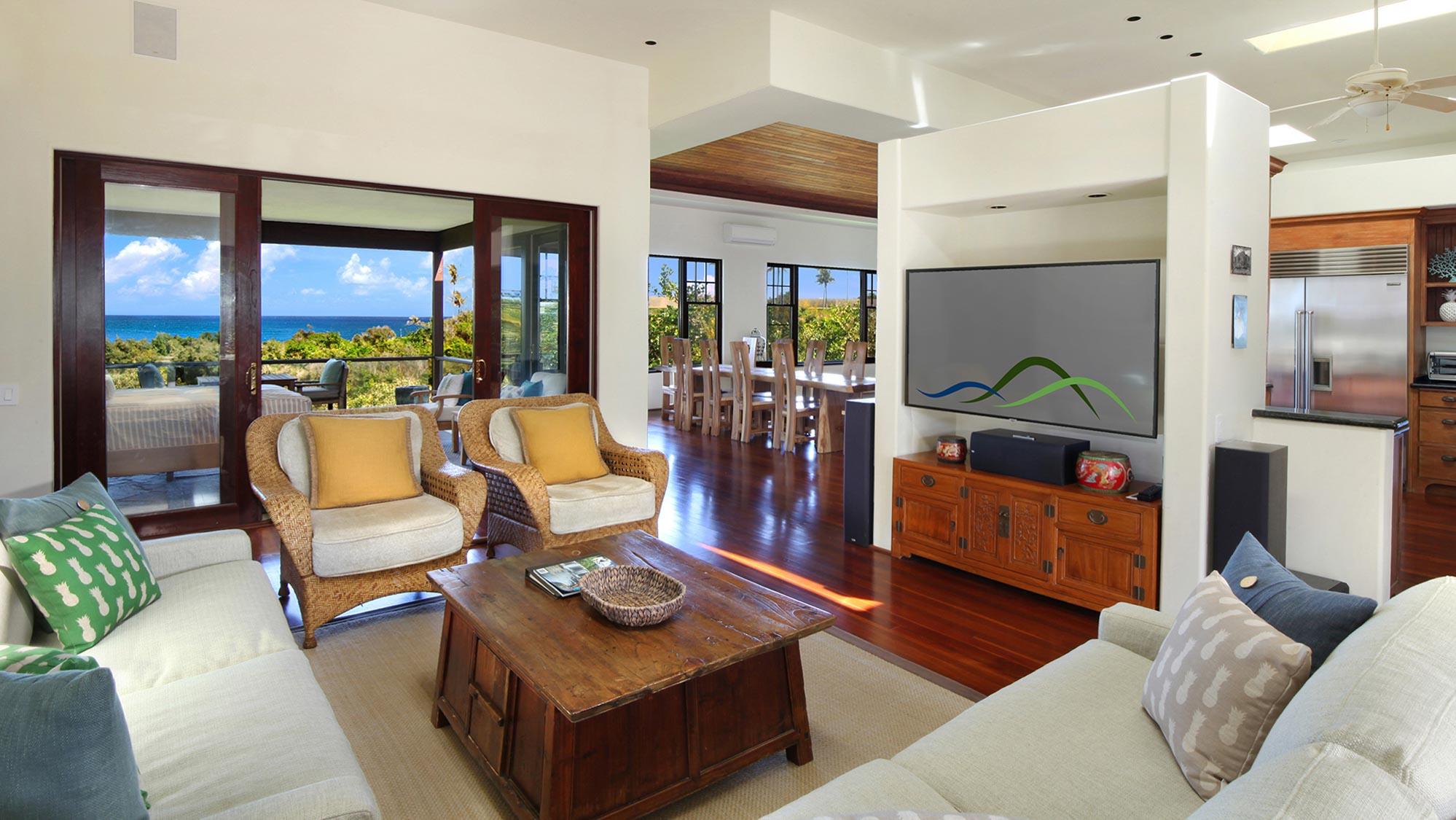 Kapiolani Villa at Princeville - Upper Level TV Lounge Area & Ocean View Lanai - Parrish Kauai
