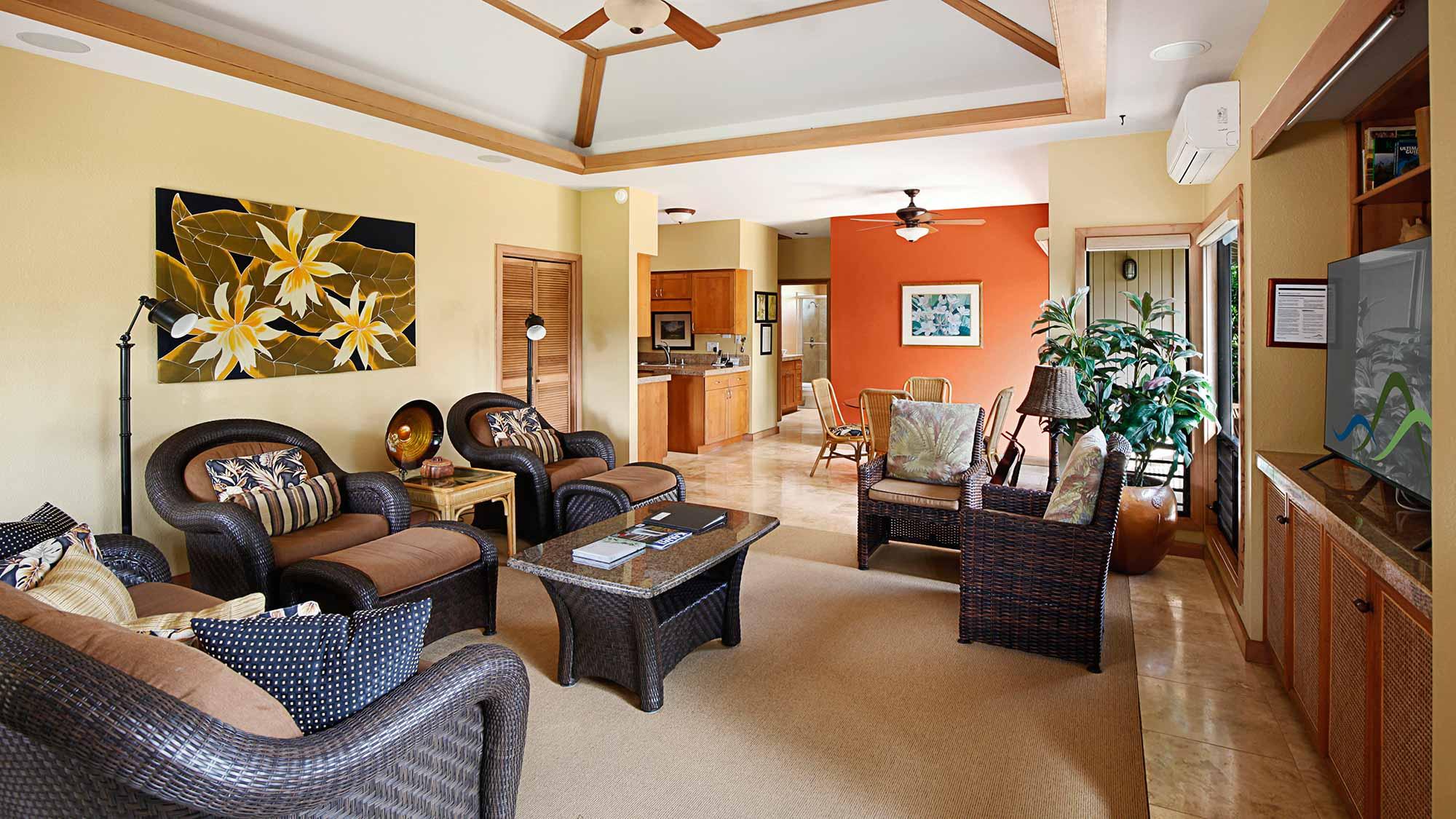 Maikalani at Poipu Kai Resort - Living Room - Parrish Kauai