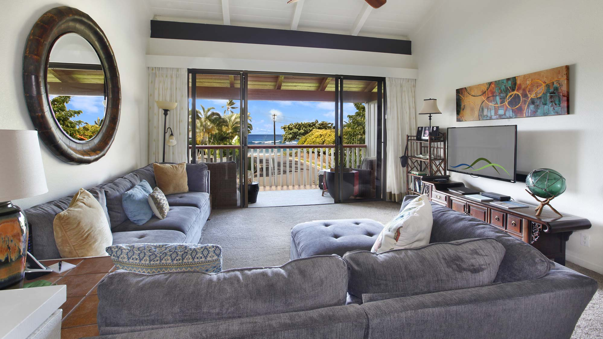 Nihi Kai Villas at Poipu #302 - Ocean View Living Room & Lanai - Parrish Kauai