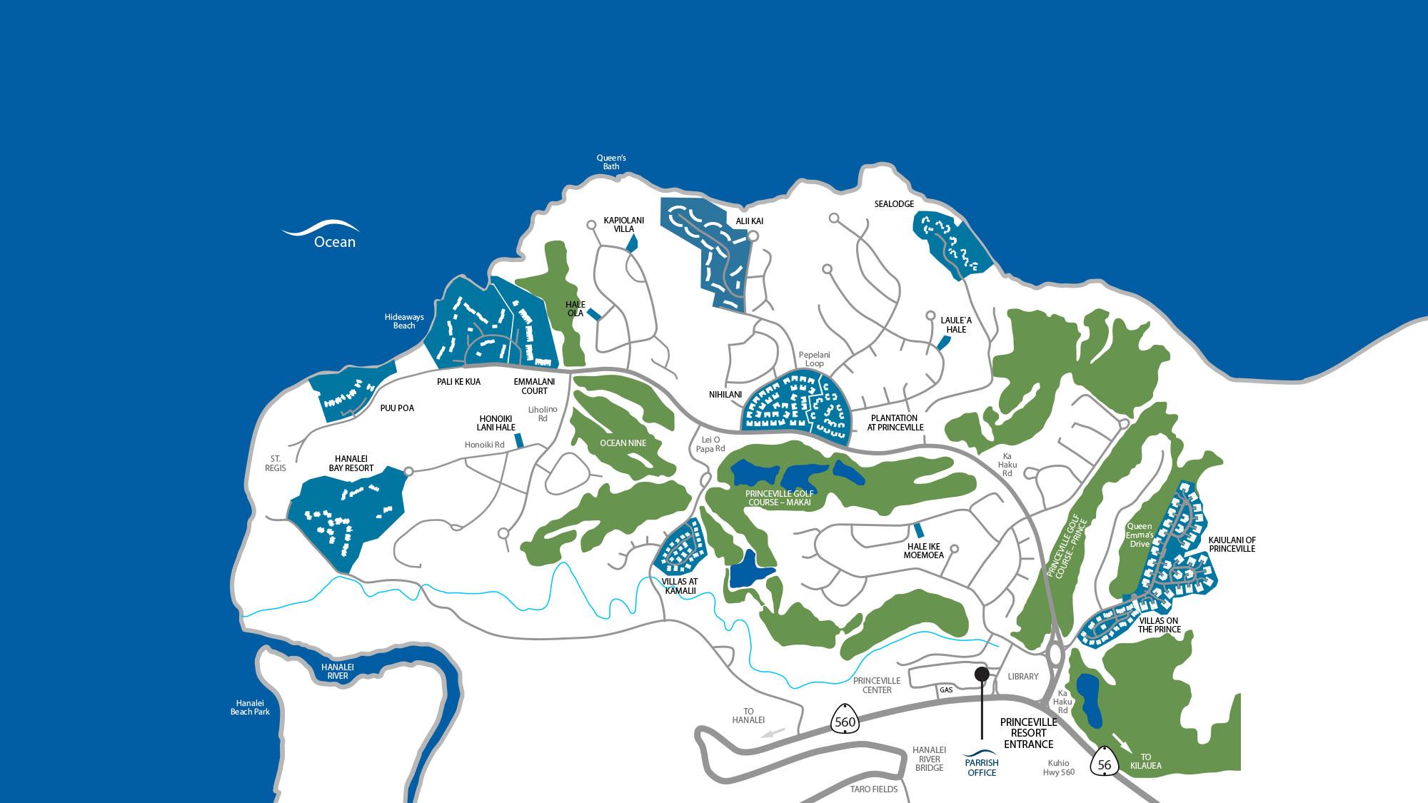 Princeville Resort Map - Parrish Kauai