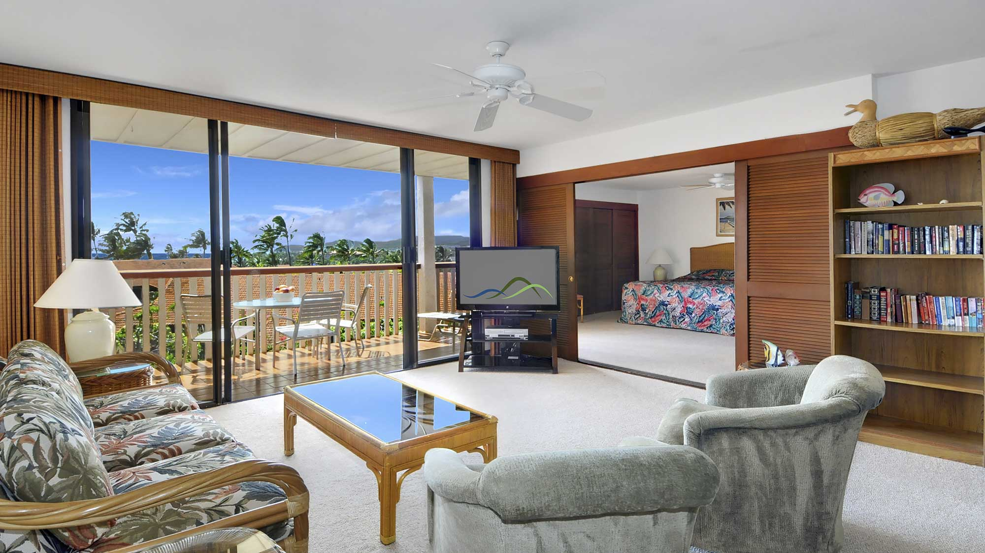Nihi Kai Villas at Poipu #801 - Ocean View Living Room & Lanai - Parrish Kauai